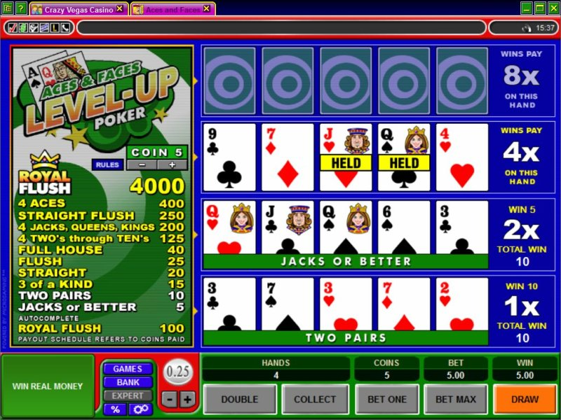 Видеопокер левел-ап - Level-Up Videopoker